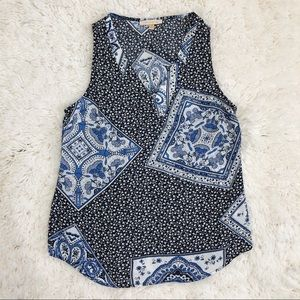 Skies Are Blue Floral Kerchief Print Tank Blouse